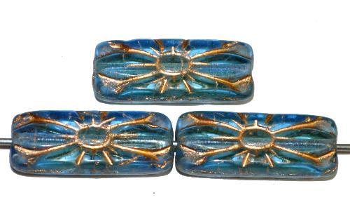 Best.Nr.:59242  vintage style Glasperlen mit Blütenornament, blau transp. mit Goldauflage,  nach alten Vorlagen aus den 1930 Jahren in Gablonz / Tschechien neu gefertigt