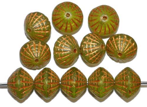 Best.Nr.:59243 vintage style Glasperlen in Spider web design, olivgrün transp. mit Bronzeauflage, nach alten Vorlagen aus den 1920 Jahren in Gablonz / Tschechien neu gefertigt