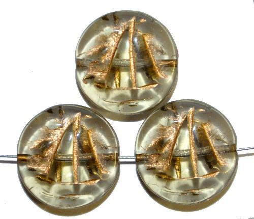 Best.Nr.:59243 Vintagestyle Glasperlen  blackdiamond mit Goldauflage,  nach alten Vorlagen aus den 1940/50 Jahren neu gefertigt in Gablonz / Tschechien