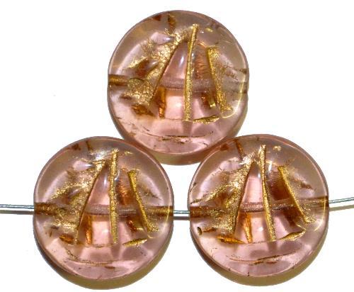 Best.Nr.:59244 Vintagestyle Glasperlen  rosa mit Goldauflage,  nach alten Vorlagen aus den 1940/50 Jahren neu gefertigt in Gablonz / Tschechien