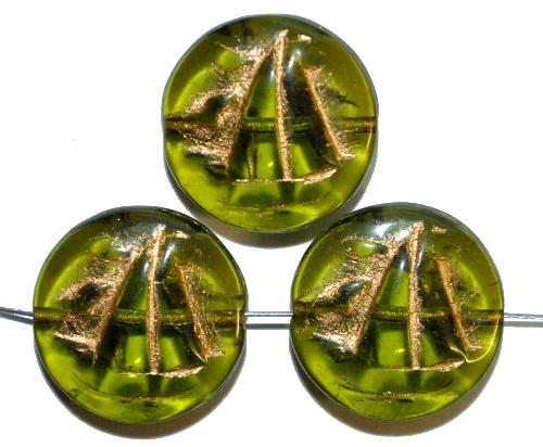 Best.Nr.:59245 Vintagestyle Glasperlen  olivgrün transp. mit Goldauflage,  nach alten Vorlagen aus den 1940/50 Jahren neu gefertigt in Gablonz / Tschechien
