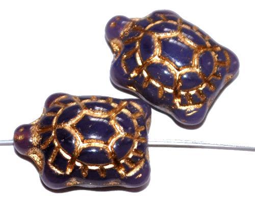 Best.Nr.:59249 Glasperlen Schildkröte violett Opalglas,  Vorderseite geprägt mit Goldauflage,  hergestellt in Gablonz / Tschechien