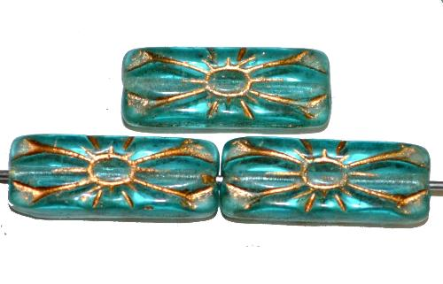 Best.Nr.:59249  vintage style Glasperlen mit Blütenornament, türkis transp. mit Goldauflage,  nach alten Vorlagen aus den 1930 Jahren in Gablonz / Tschechien neu gefertigt