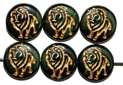 Best.Nr.:59250 vintage style Glasperlen,  nach alten Vorlagen aus den 1970 Jahren in Gablonz / Tschechien neu gefertigt,  eingeprägter Löwe mit Goldauflage