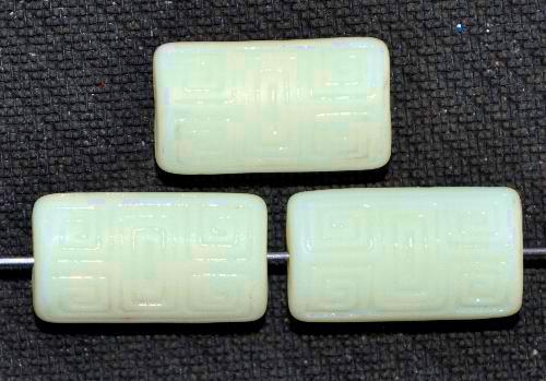 Best.Nr.:59251 Vintagestyle Glasperlen  Uranglas ecru mattiert mit eingeprägtem