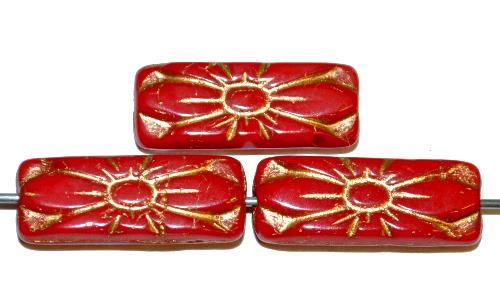 Best.Nr.:59251 vintage style Glasperlen mit Blütenornament, rot opak mit Goldauflage,  nach alten Vorlagen aus den 1930 Jahren in Gablonz / Tschechien neu gefertigt