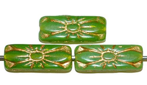 Best.Nr.:59252  vintage style Glasperlen mit Blütenornament, opalgrün mit Goldauflage,  nach alten Vorlagen aus den 1930 Jahren in Gablonz / Tschechien neu gefertigt
