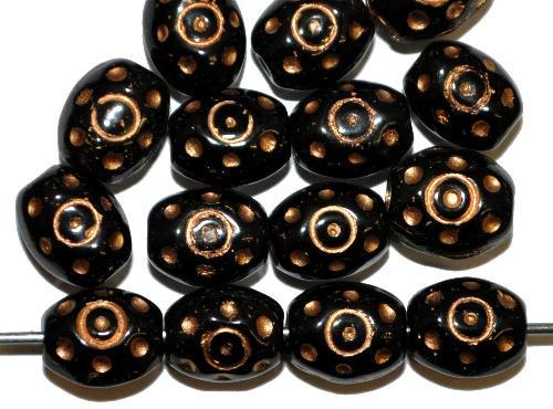 Best.Nr.:59253 Glasperlen häufig für Rosenkränze verwendet,  schwarz mit Goldauflage,  in den 1950/60 Jahren in Gablonz/Böhmen hergestellt