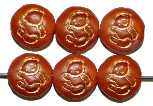 Best.Nr.:59256 vintage style Glasperlen,  nach alten Vorlagen aus den 1970 Jahren in Gablonz / Tschechien neu gefertigt,  eingeprägtes Bärchen mit Goldauflage