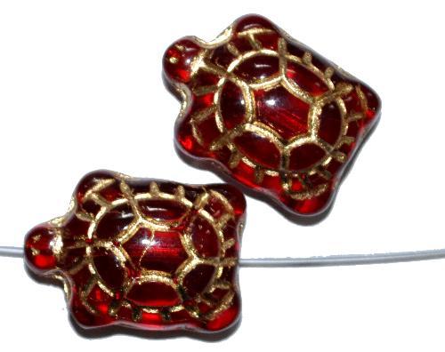 Best.Nr.:59258 Glasperlen Schildkröte rot transp.,  Vorderseite geprägt mit Goldauflage,  hergestellt in Gablonz / Tschechien