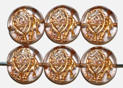 Best.Nr.:59259 vintage style Glasperlen,  nach alten Vorlagen aus den 1970 Jahren in Gablonz / Tschechien neu gefertigt,  eingeprägter Löwe mit Goldauflage