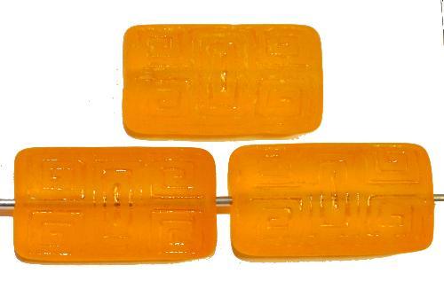 Best.Nr.:59259 Vintagestyle Glasperlen  orangegelb transp. mattiert mit eingeprägtem