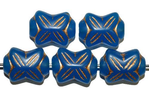 Best.Nr.:59261 vintage style Glasperlen in Schleifenform,  blau mit Goldauflage,  nach alten Vorlagen aus den 1930 Jahren in Gablonz / Tschechien neu gefertigt