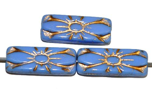 Best.Nr.:59261 vintage style Glasperlen mit Blütenornament, kornblumenblau opak mit Goldauflage,  nach alten Vorlagen aus den 1930 Jahren in Gablonz / Tschechien neu gefertigt