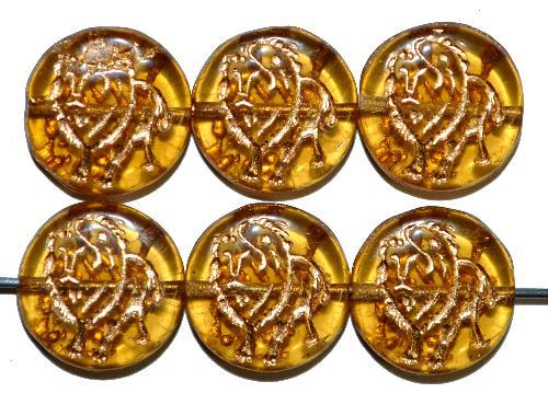 Best.Nr.:59262 vintage style Glasperlen,  nach alten Vorlagen aus den 1970 Jahren in Gablonz / Tschechien neu gefertigt,  eingeprägter Löwe mit Goldauflage
