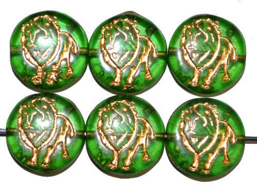 Best.Nr.:59263 vintage style Glasperlen,  nach alten Vorlagen aus den 1970 Jahren in Gablonz / Tschechien neu gefertigt,  eingeprägter Löwe mit Goldauflage