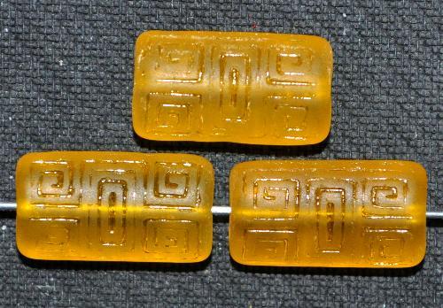 Best.Nr.:59263 Vintagestyle Glasperlen  topas transp. mattiert mit eingeprägtem