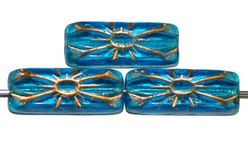 Best.Nr.:59266 vintage style Glasperlen mit Blütenornament, aqua  transp. mit Goldauflage,  nach alten Vorlagen aus den 1930 Jahren in Gablonz / Tschechien neu gefertigt