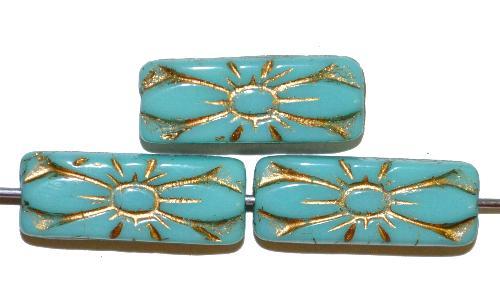 Best.Nr.:59267 vintage style Glasperlen mit Blütenornament, hellblau opak mit Goldauflage,  nach alten Vorlagen aus den 1930 Jahren in Gablonz / Tschechien neu gefertigt