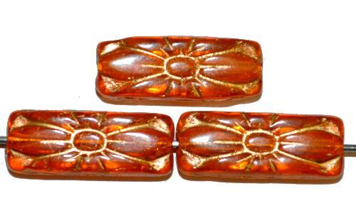 Best.Nr.:59268 vintage style Glasperlen mit Blütenornament, orang transp. mit Goldauflage,  nach alten Vorlagen aus den 1930 Jahren in Gablonz / Tschechien neu gefertigt