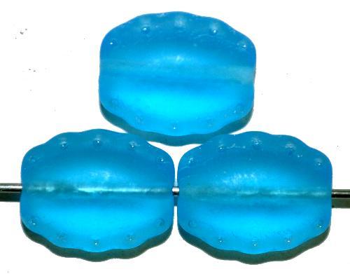 Best.Nr.:59269 Vintage style Glasperlen,  türkis mattiert (frostet)  nach alten Vorlagen aus den 1930/40Jahren  in Gablonz / Tschechien neu gefertigt