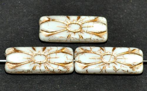 Best.Nr.:59273 vintage style Glasperlen mit Blütenornament, weiß opak mit Goldauflage,  nach alten Vorlagen aus den 1930 Jahren in Gablonz / Tschechien neu gefertigt