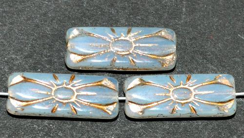 Best.Nr.:59274 vintage style Glasperlen mit Blütenornament, opalweiß mit Goldauflage,  nach alten Vorlagen aus den 1930 Jahren in Gablonz / Tschechien neu gefertigt