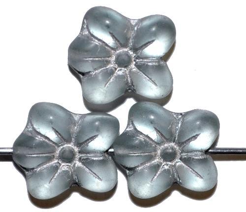 Best.Nr.:59274 vintage style Glasperlen in Blütenform,  light aqua mattiert mit Silberauflage,  nach alten Vorlagen aus den 1930 Jahren in Gablonz / Tschechien neu gefertigt