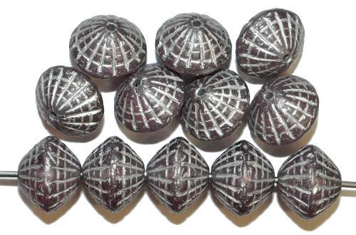 Best.Nr.:59275 vintage style Glasperlen in Spider web design, french violett transp. mit Silberauflage, nach alten Vorlagen aus den 1920 Jahren in Gablonz / Tschechien neu gefertigt