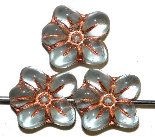 Best.Nr.:59275  vintage style Glasperlen in Blütenform,  light aqua mattiert mit Kupferauflage,  nach alten Vorlagen aus den 1930 Jahren in Gablonz / Tschechien neu gefertigt