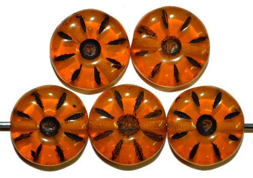 Best.Nr.:59276  Vintage style Glasperlen,  nach alten Vorlagen aus den 1920/30 Jahren neu gefertigt  Opalglas orangegelb mit Farbauflage schwarz