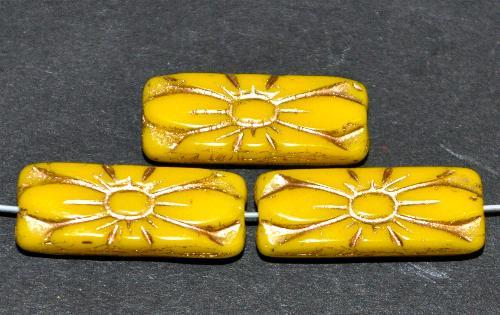 Best.Nr.:59277  vintage style Glasperlen mit Blütenornament, gelb opak mit Goldauflage,  nach alten Vorlagen aus den 1930 Jahren in Gablonz / Tschechien neu gefertigt