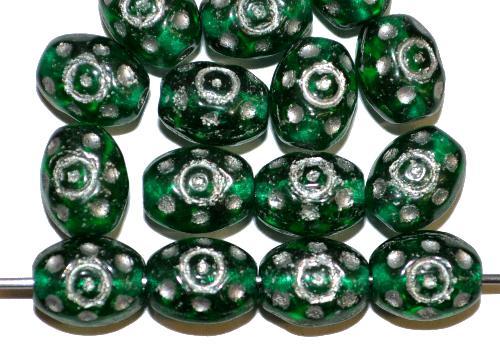 Best.Nr.:59279  Glasperlen häufig für Rosenkränze verwendet,  grün transp. mit Silberauflage,  in den 1950/60 Jahren in Gablonz/Böhmen hergestellt