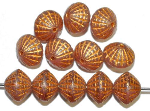 Best.Nr.:59284 vintage style Glasperlen in Spider web design, french violett transp. mit Bronzeauflage, nach alten Vorlagen aus den 1920 Jahren in Gablonz / Tschechien neu gefertigt