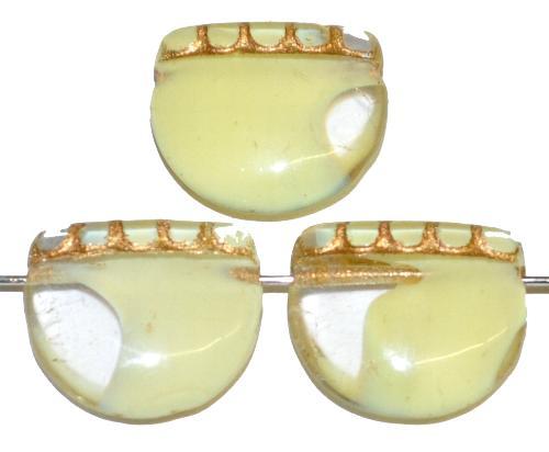 Best.Nr.:59284 vintage style Glasperlen, nach alten Vorlagen aus den 1920 Jahren neu gefertigt in Gablonz / Tschechien ,gelb kristall mit Goldauflage