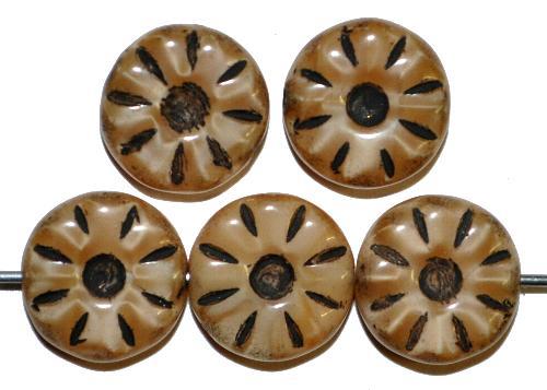 Best.Nr.:59285  Vintage style Glasperlen,  nach alten Vorlagen aus den 1920/30 Jahren neu gefertigt  Perlettglas beige mit Farbauflage schwarz