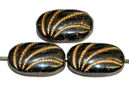 Best.Nr.:59286 Antik style Glasperlen schwarz mit lüster, geprägter Oberfläche und Goldauflage, nach alten Vorlagen aus den 1930/40 Jahren in Gablonz / Tschechien neu gefertigt