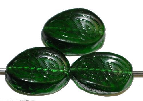 Best.Nr.:59287 Antik style Glasperlen  dunkelgrün transp. mit eingeprägten paisley Muster,  nach alten Vorlagen  aus den 1920 Jahren in Gablonz Tschechien neu gefertigt