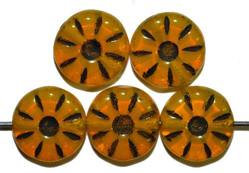 Best.Nr.:59288  Vintage style Glasperlen,  nach alten Vorlagen aus den 1920/30 Jahren neu gefertigt  Opalglas gelb mit Farbauflage schwarz