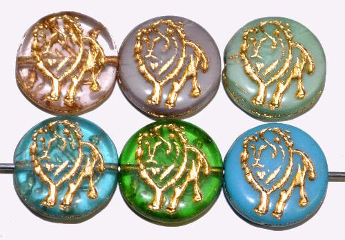 Best.Nr.:59290 vintage style Glasperlen Farbmix,  nach alten Vorlagen aus den 1970 Jahren in Gablonz / Tschechien neu gefertigt,  eingeprägter Löwe mit Goldauflage