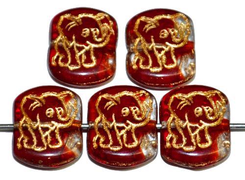 Best.Nr.:59292 vintage style Glasperlen,  nach alten Vorlagen aus den 1970 Jahren neu gefertigt,  rot kristall transparent mit eingeprägter Elefant und Goldauflage