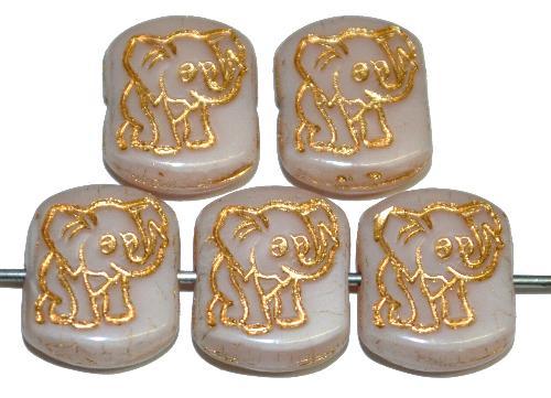 Best.Nr.:59293 vintage style Glasperlen,  nach alten Vorlagen aus den 1970 Jahren neu gefertigt,  puder opak mit eingeprägter Elefant und Goldauflage