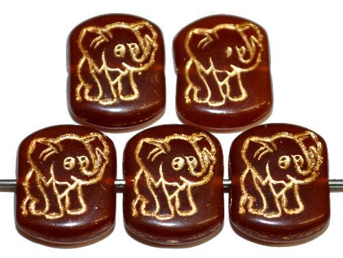 Best.Nr.:59294  vintage style Glasperlen,  nach alten Vorlagen aus den 1970 Jahren neu gefertigt,  Alabasterglas braun mit eingeprägter Elefant und Goldauflage