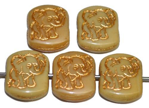 Best.Nr.:59295  vintage style Glasperlen,  nach alten Vorlagen aus den 1970 Jahren neu gefertigt,  beige opak mit eingeprägter Elefant und Goldauflage