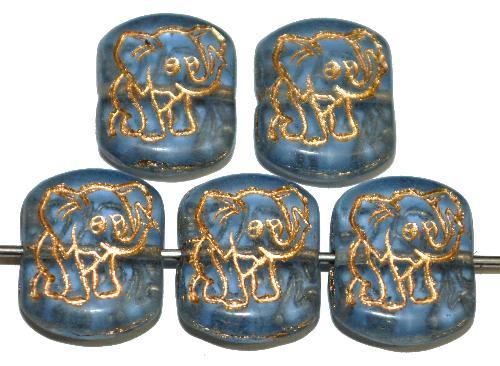 Best.Nr.:59296  vintage style Glasperlen,  nach alten Vorlagen aus den 1970 Jahren neu gefertigt,  aqua transparent mit eingeprägter Elefant und Goldauflage