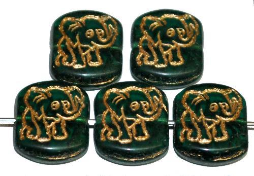 Best.Nr.:59297  vintage style Glasperlen,  nach alten Vorlagen aus den 1970 Jahren neu gefertigt,  smaragdgrün transparent mit eingeprägter Elefant und Goldauflage