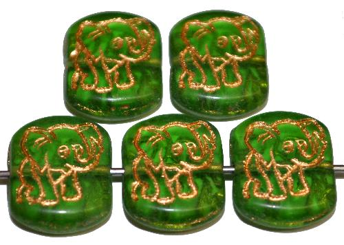 Best.Nr.:59298  vintage style Glasperlen,  nach alten Vorlagen aus den 1970 Jahren neu gefertigt,  grün transparent mit eingeprägter Elefant und Goldauflage