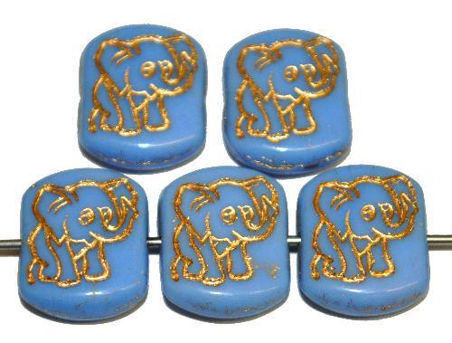 Best.Nr.:59299  vintage style Glasperlen,  nach alten Vorlagen aus den 1970 Jahren neu gefertigt,  hellblau opak mit eingeprägter Elefant und Goldauflage