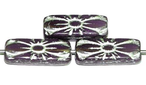 Best.Nr.:59301 vintage style Glasperlen mit Blütenornament, Opalglas violett mit Silberauflage,  nach alten Vorlagen aus den 1930 Jahren in Gablonz / Tschechien neu gefertigt