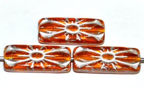 Best.Nr.:59302 vintage style Glasperlen mit Blütenornament, topas transp. mit Silberauflage,  nach alten Vorlagen aus den 1930 Jahren in Gablonz / Tschechien neu gefertigt